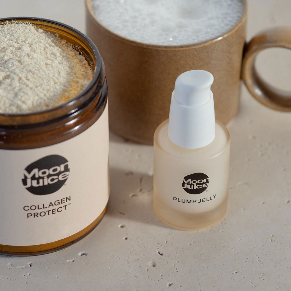 A close-up photo of Moon Juice's Collagen Protect adaptogenic powder supplement and Plump Jelly skincare product.
