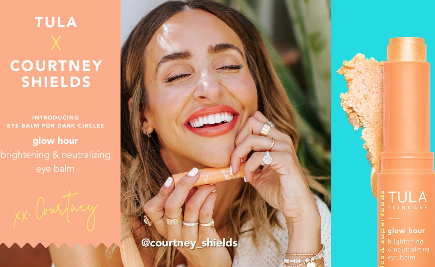 Advertisement for the TULA x Courtney Shields Glow Hour collaboration.