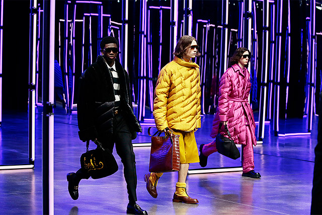 Three men walk in the Fendi Fall 2021 Menswear digital fashion show.