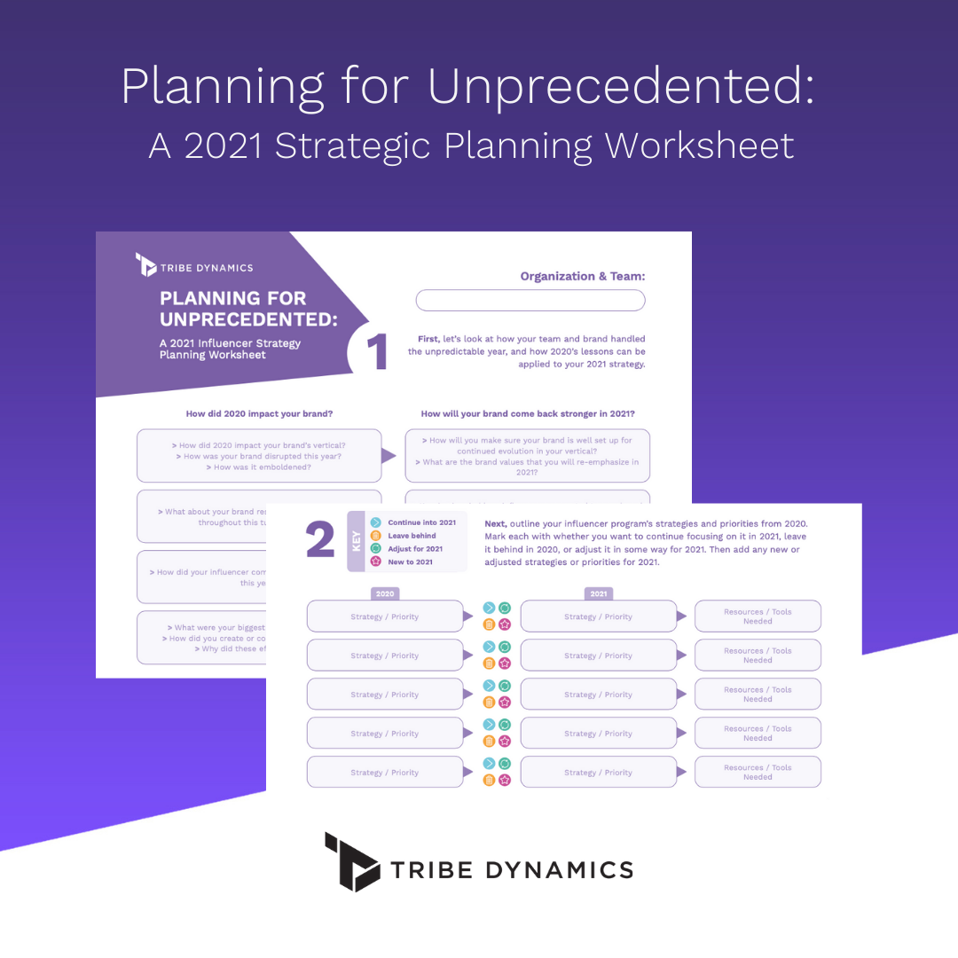 """A preview of Tribe Dynamics' free downloadable """"Planning for Unprecedented: 2021 Strategic Planning Template.""""."""