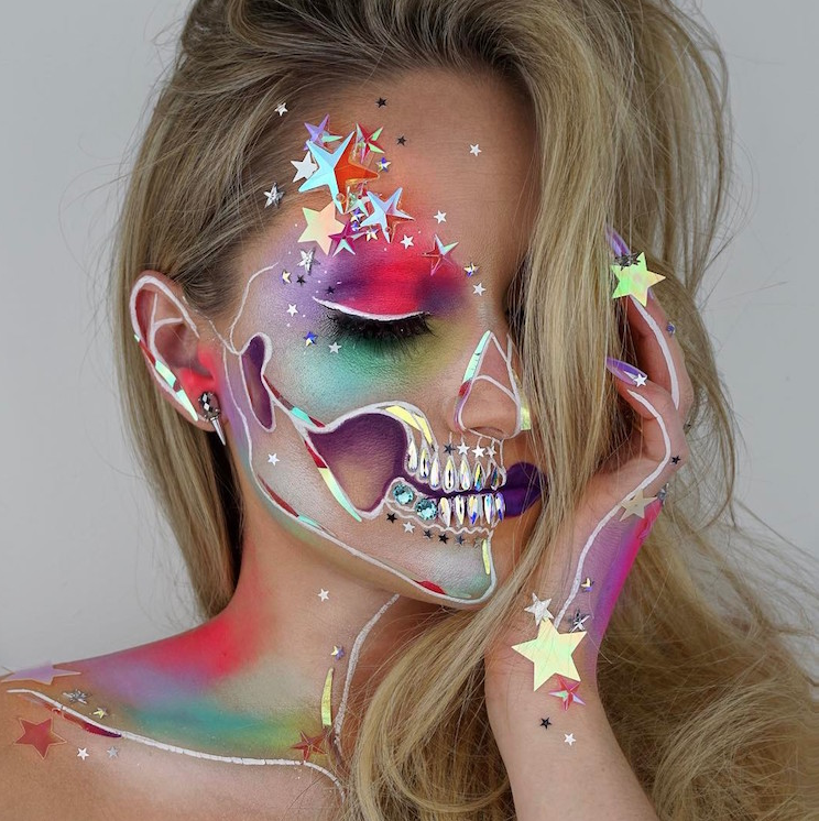 Vanessa Davis Showcases An Elaborate  Rainbow Skull Makeup Look