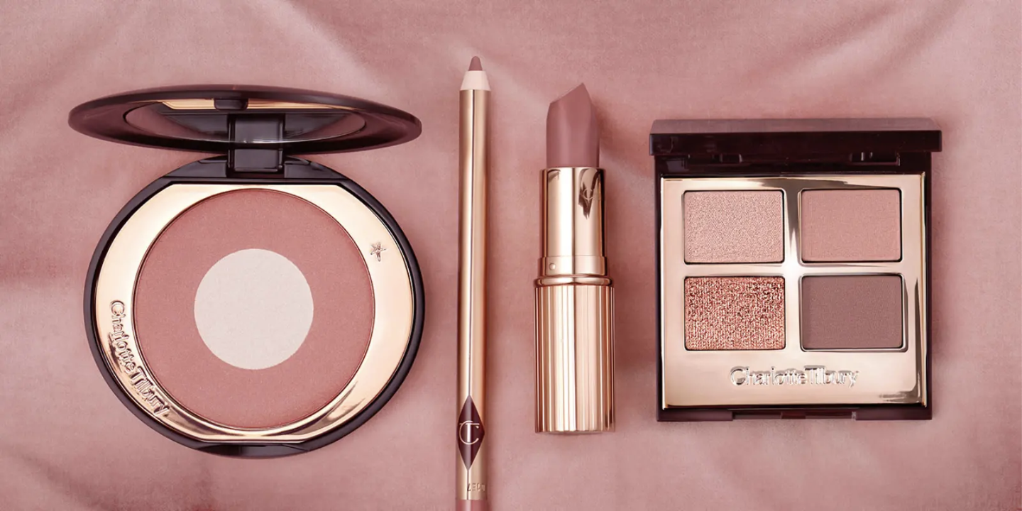 A flatlay featuring products from Charlotte Tilbury's Pillow Talk Collection.