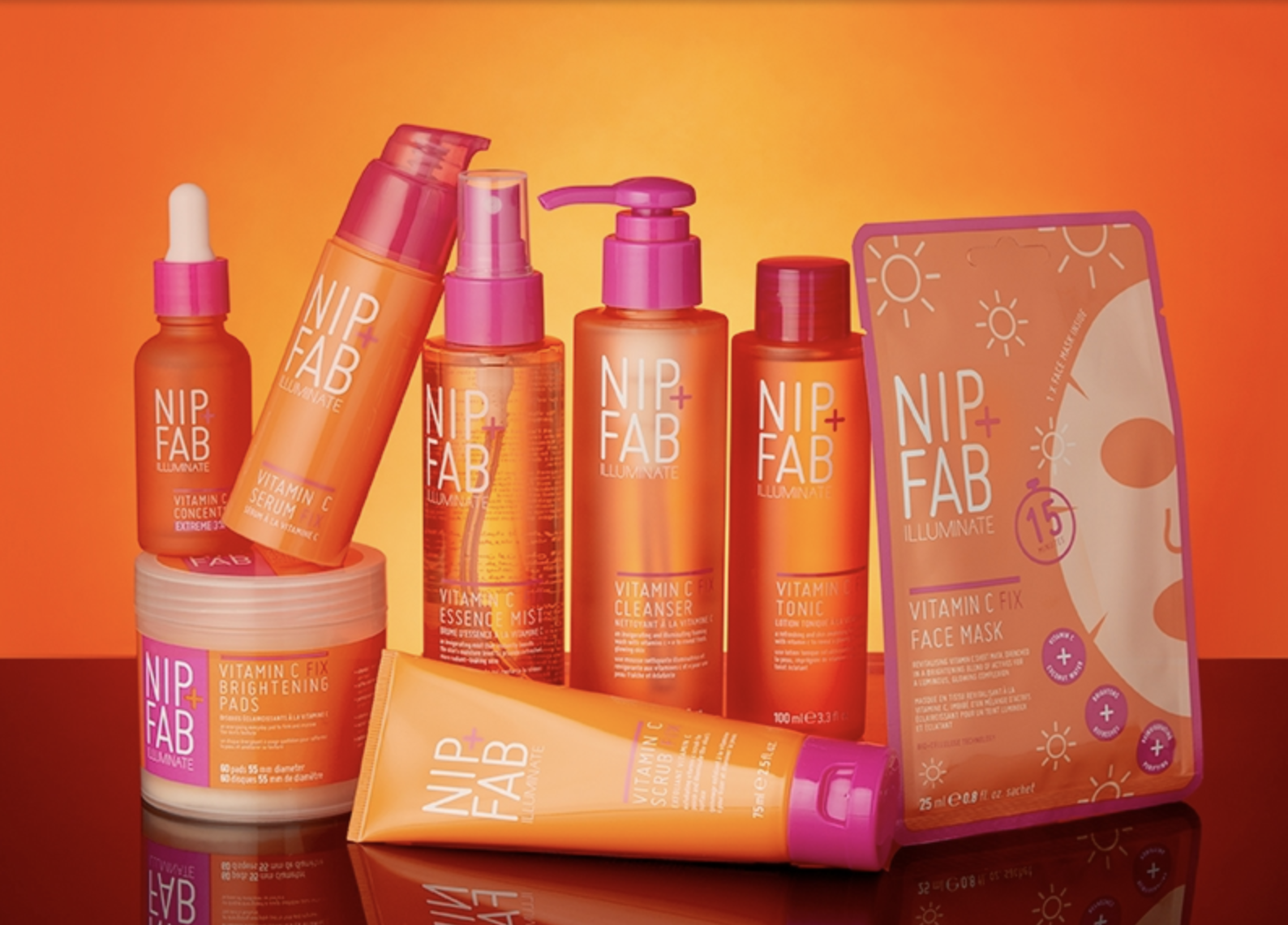 A close-up photo showcasing Nip + Fab's new Vitamin C collection of skincare products.