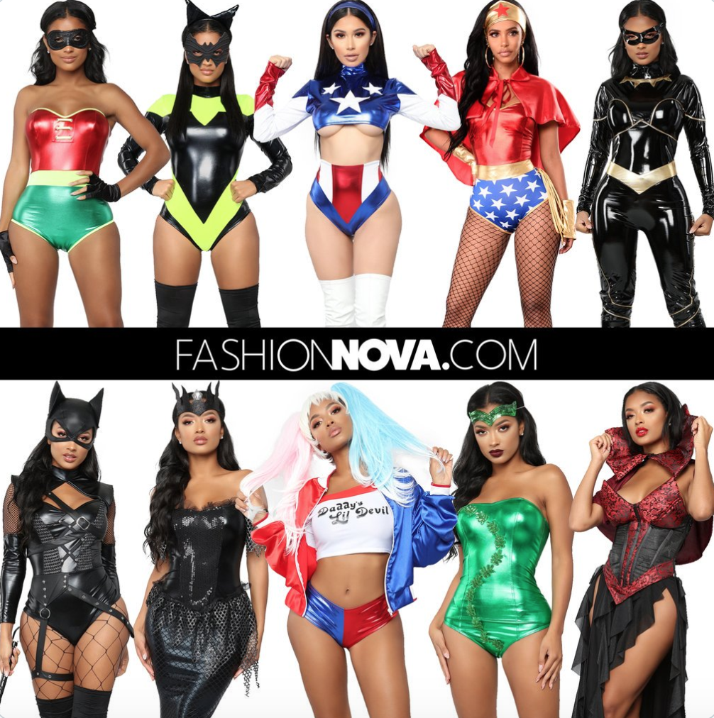 Models pose in Halloween costumes from Fashion Nova.