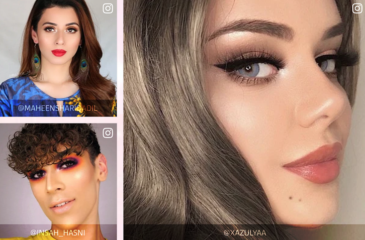 Various influencers show off makeup looks featuring their favorite Huda Beauty products in tutorials featured on the brand's website.