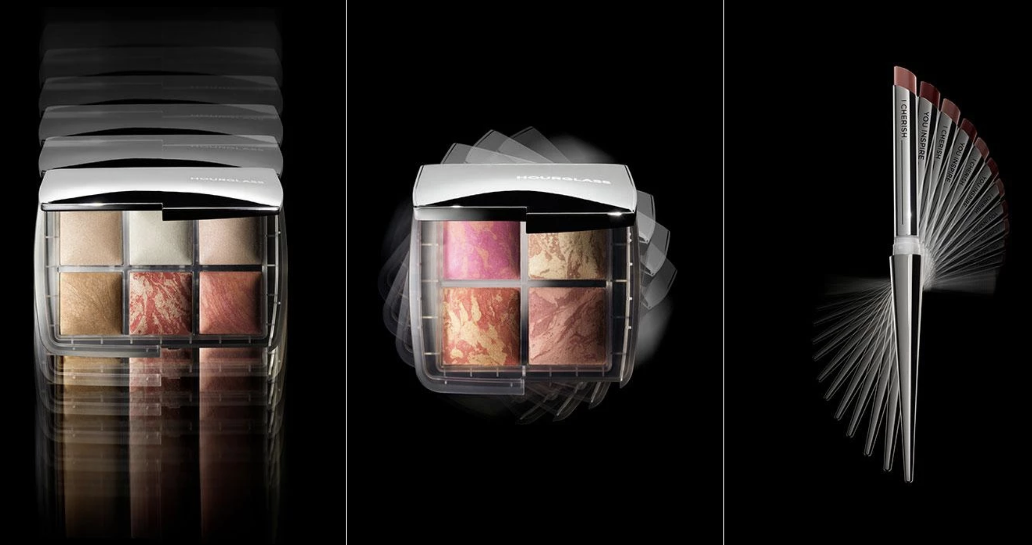 Product shots of Hourglass' Ghost Holiday Collection, including the Ambient Lighting Edit, Ambient Lighting Blush Quad, and Confession Refillable Lipstick Duo.
