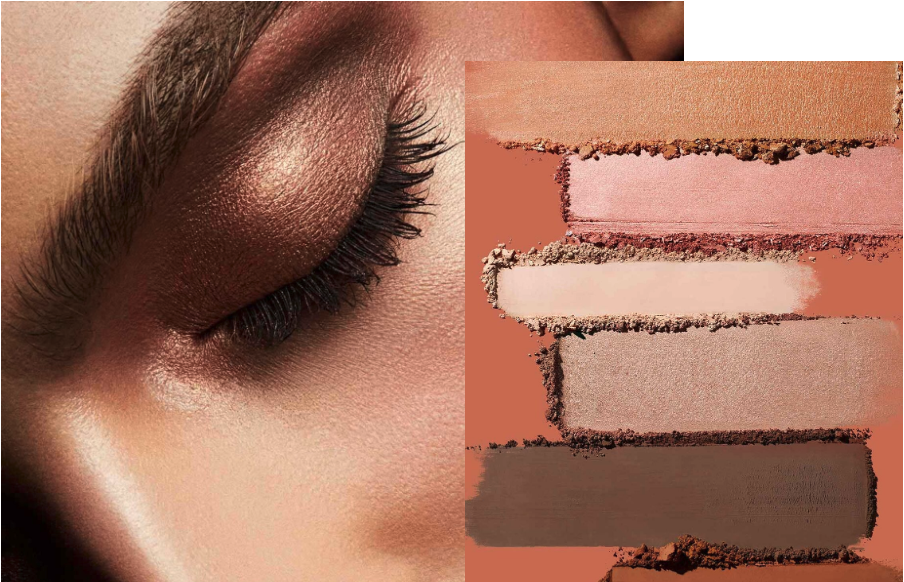 A close-up shot of an eye makeup look and swatches created with Fenty Beauty's new Snap Shadows Mix & Match Eyeshadow Palettes.