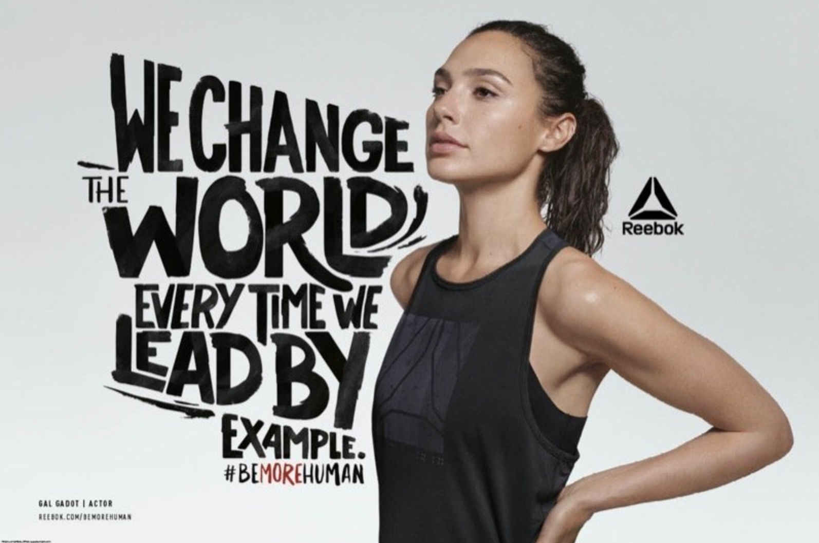 Actress Gal Gadot poses in an inspirational advertisement for Reebok's #BeMoreHuman campaign.