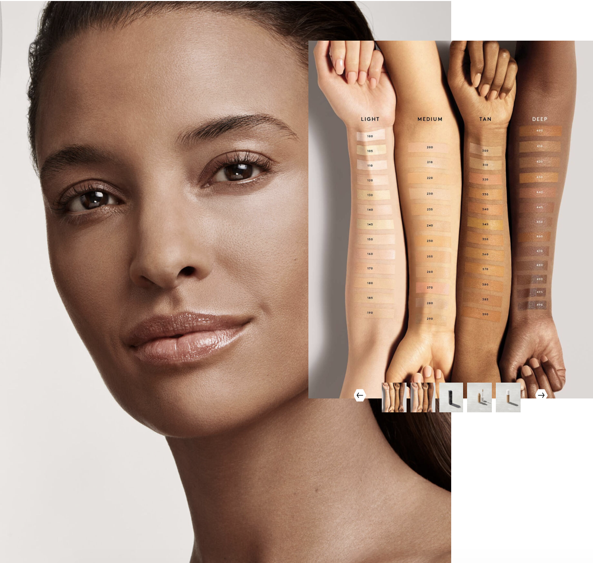 An advertisement for Fenty Beauty's Pro Filt'r Instant Retouch Concealer featuring a model and arm swatches.