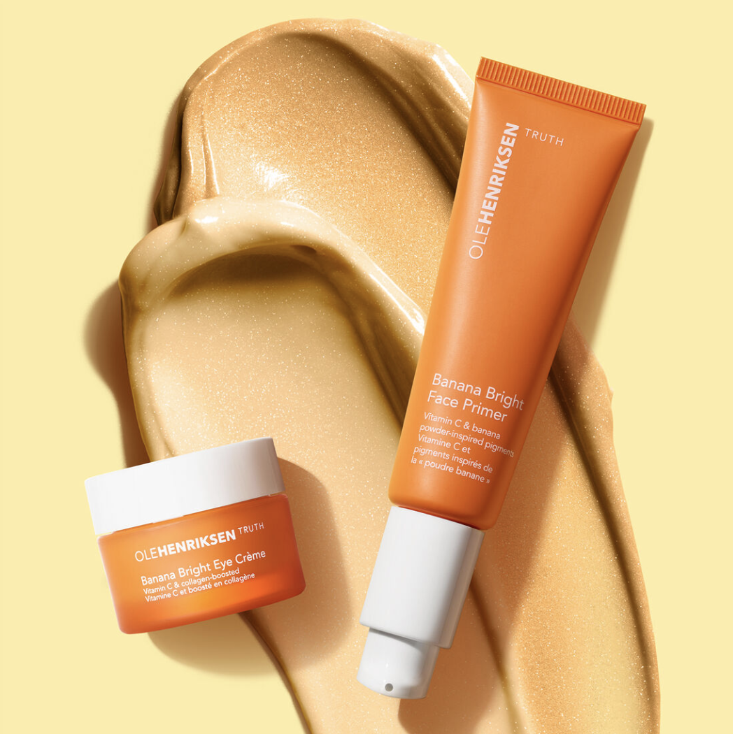A close-up shot of Ole Henriksen's Banana Bright Face Primer and Banana Bright Eye Crème.