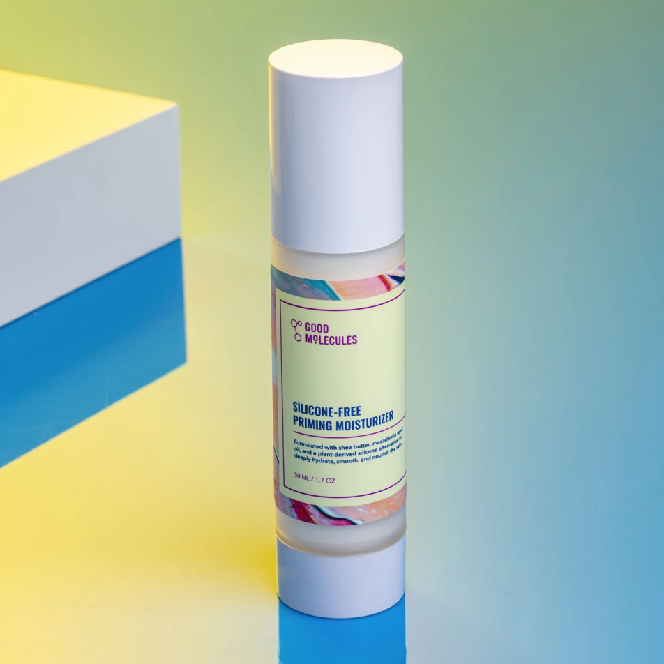An advertisement for Good Molecules' Silicone-Free Priming Moisturizer.