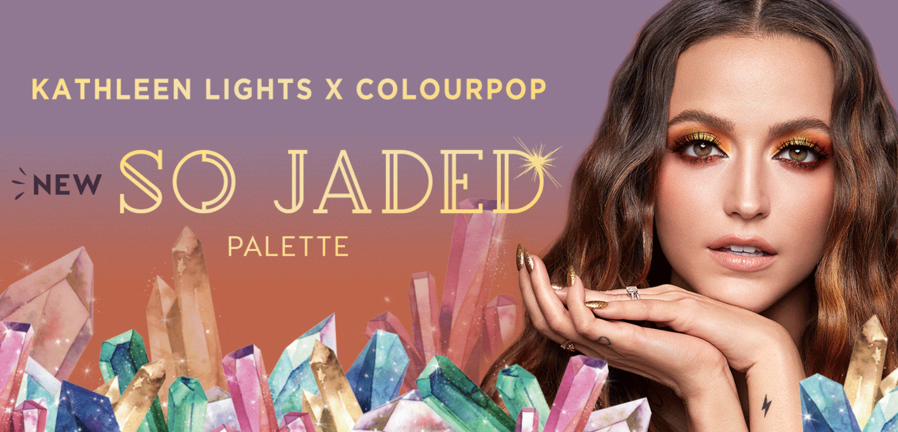 An advertisement for ColourPop's So Jaded palette collaboration with influencer KathleenLights.