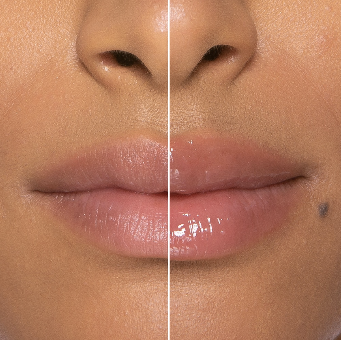 A close-up photo showing the before- and after-effect of Too Faced's Lip Injection Extreme Lip Plumper, which has gone viral on TikTok.