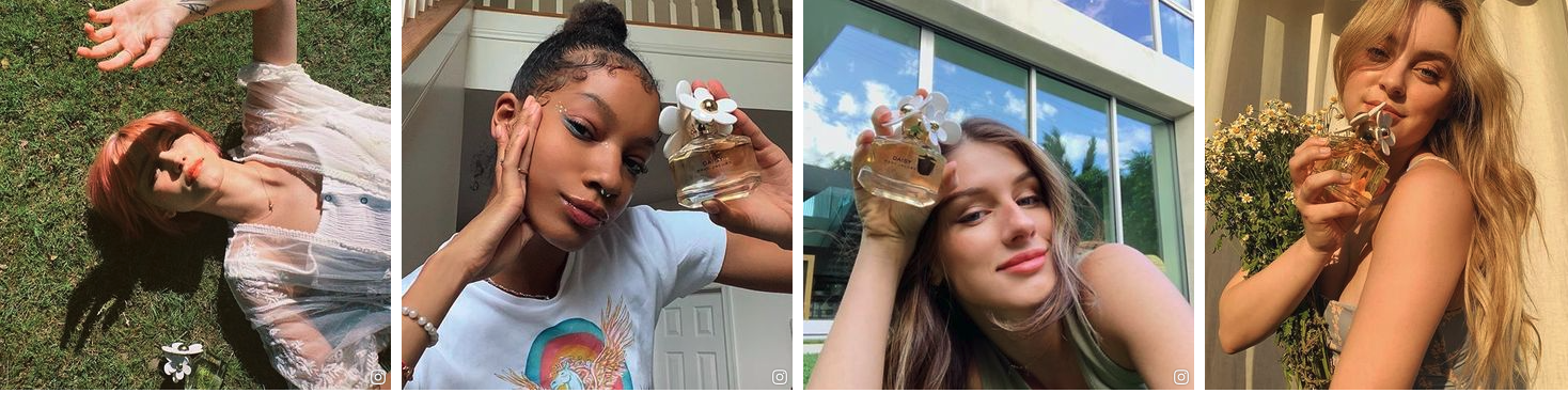 Four images featuring Gen Z influencers holding Marc Jacobs' Daisy perfume bottles.