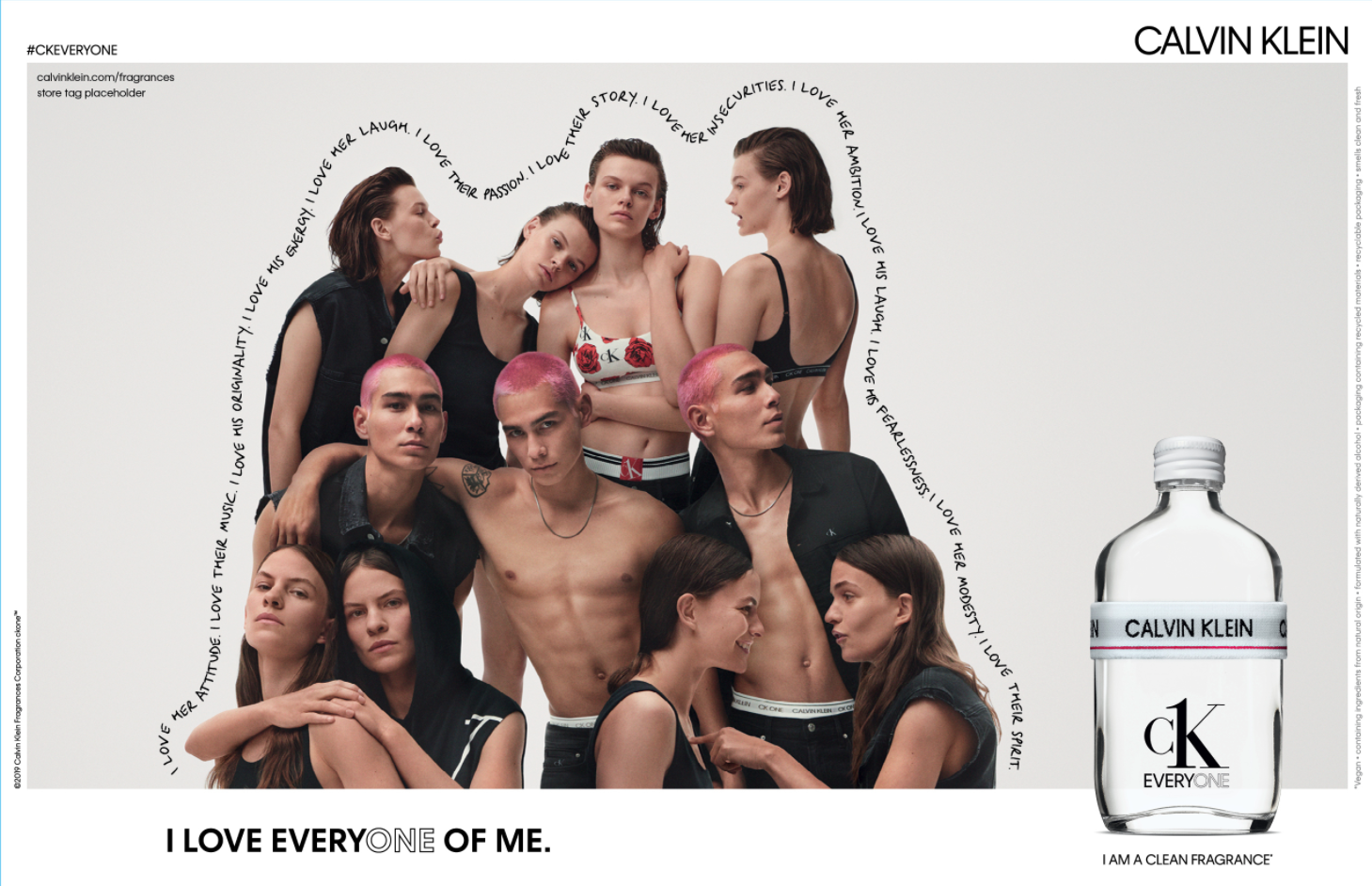 An advertisement for Calvin Klein's CK Everyone fragrance, featuring several models interacting with each other in a group shot.