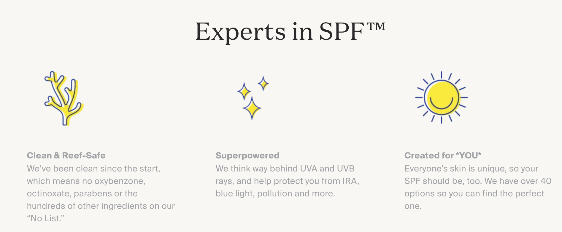 An image of Supergoop!'s values from the brand's website.