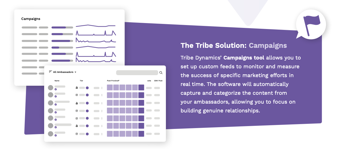 An infographic showcasing the Campaign feature in Tribe Dynamics' influencer marketing software which allows you to set up custom feeds to monitor and measure marketing efforts.