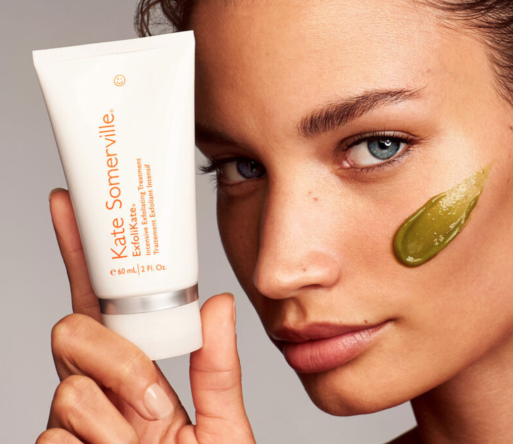 An advertisement for Kate Somerville's ExfoliKate Intensive Exfoliating Treatment.