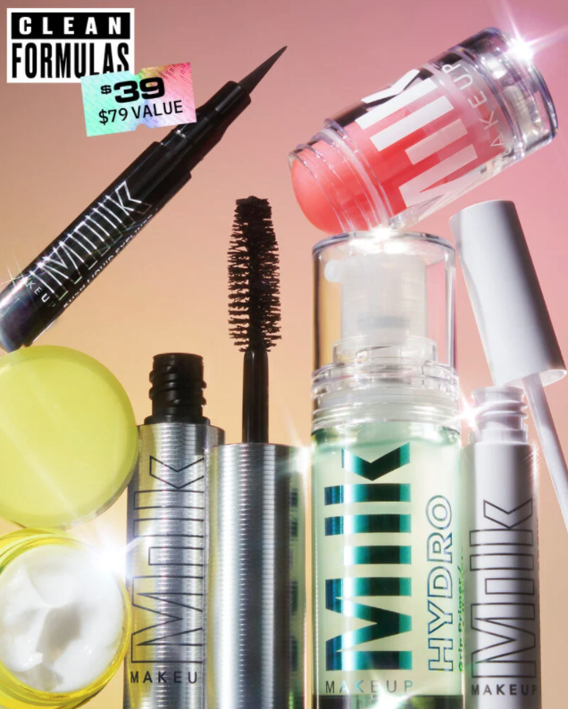 An advertisement for Milk Makeup's Here For The Party Set.