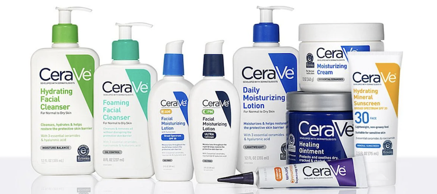 A range of CeraVe skincare and bodycare products against a white background, from cerave.com.