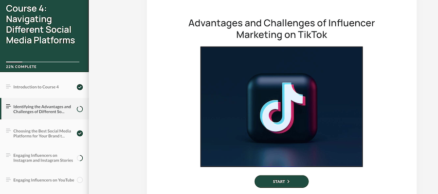 A screenshot of a course from Tribe Dynamics' Influencer Marketing Training and Certification Program.