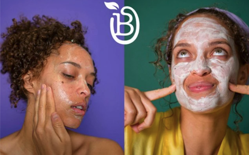 An advertisement for Bolden featuring side-by-side images of a model applying a cleanser and wearing a face mask.
