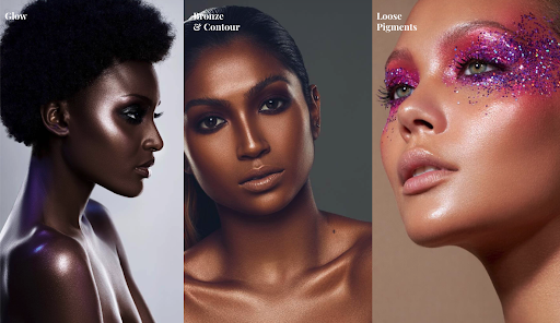 An advertisement for Danessa Myricks Beauty featuring close-ups of three models' radiant skin.