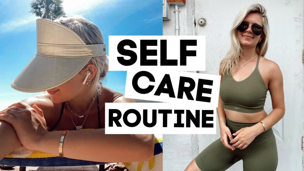 "A thumbnail for Danielle Marie Carolan's ""Self Care Day In My Life"" YouTube video, featuring the vlogger in a visor and athleisure outfit."