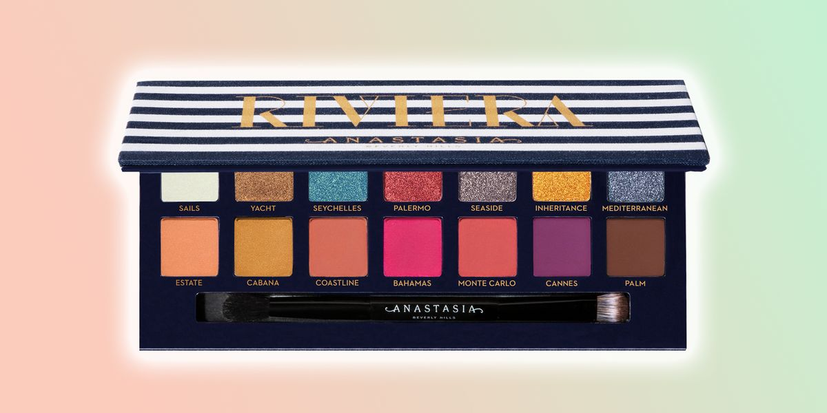 Anastasia Beverly Hills' Riviera Eyeshadow Palette against a colorful background.