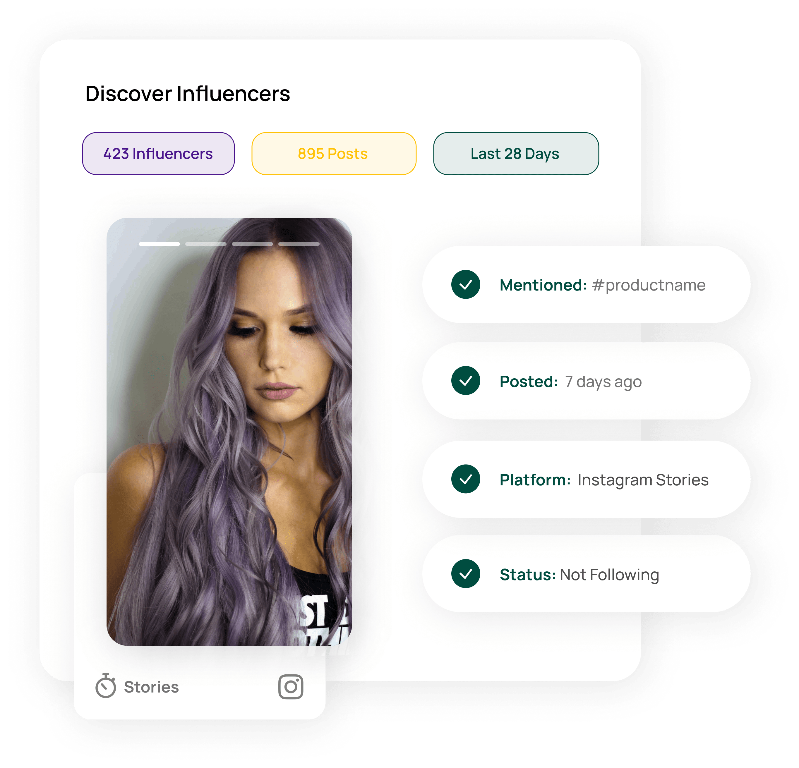 Instagram Story tracking in Influencer Discover tool
