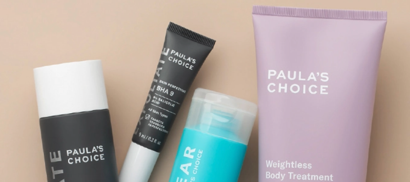 The popular Paula's Choice BHA Exfoliant Collection on a pink background.