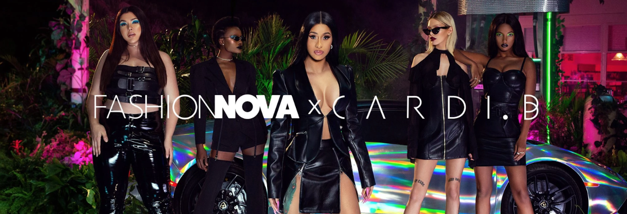 An official advertisement for Fashion Nova's blockbuster collaboration with Cardi B.