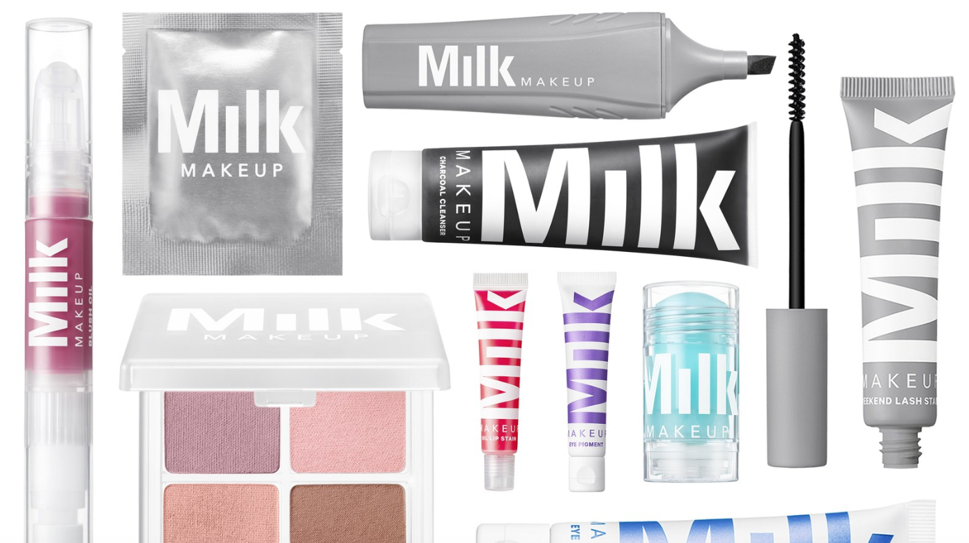 Milk makeup products are displayed against a white background.
