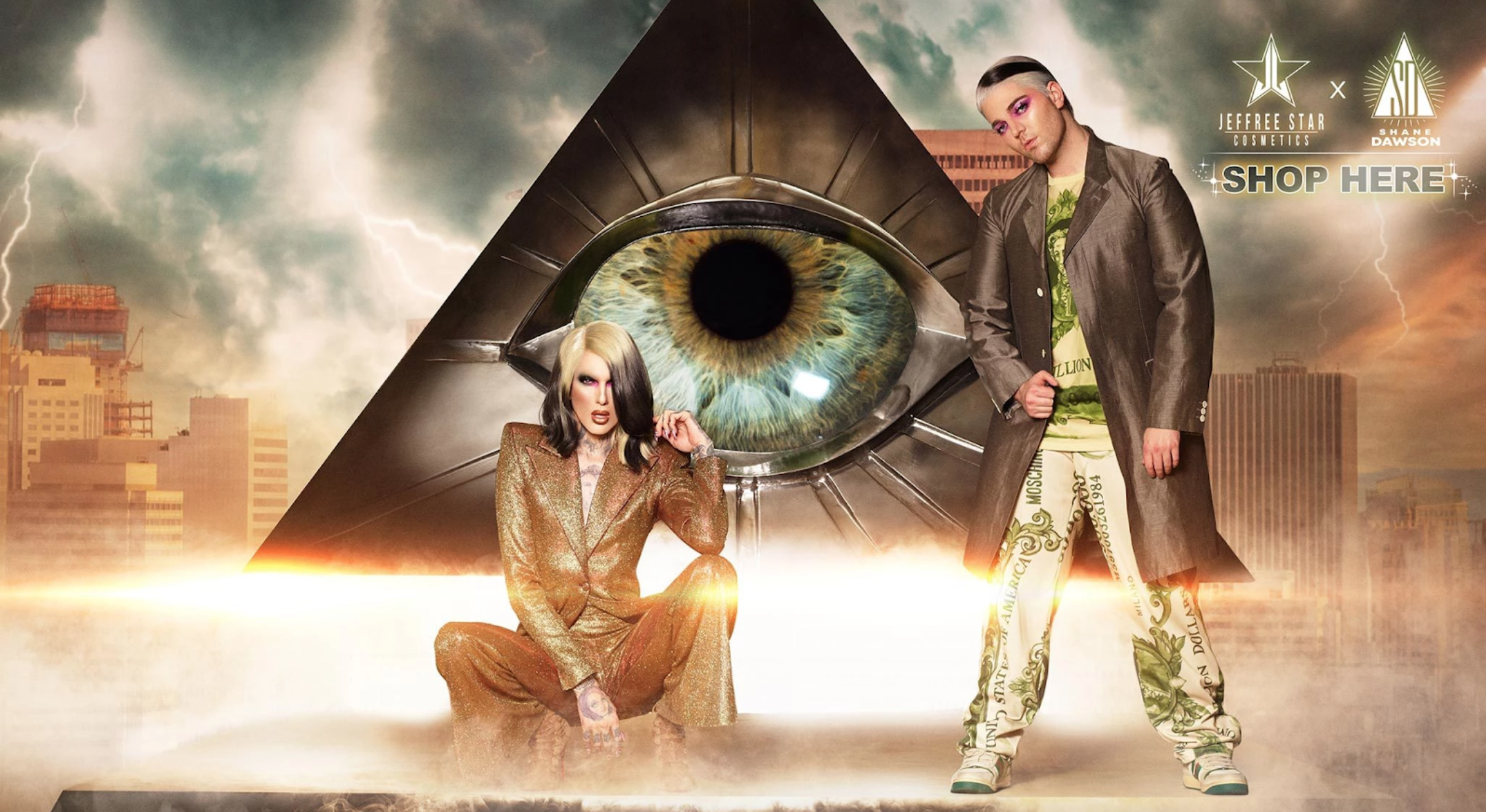 YouTubers Jeffree Star and Shane Dawson pose in a Jeffree Star Cosmetics advertisement for the Jeffree x Shane Conspiracy Collection.