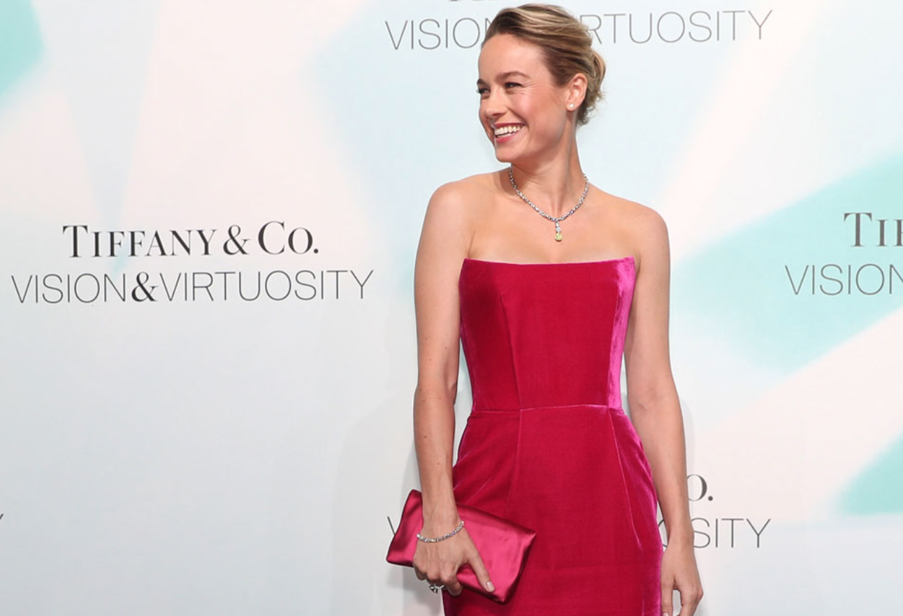 """Actress Brie Larson poses at Tiffany & Co.'s """"Vision & Virtuosity"""" exhibition in Shanghai"""