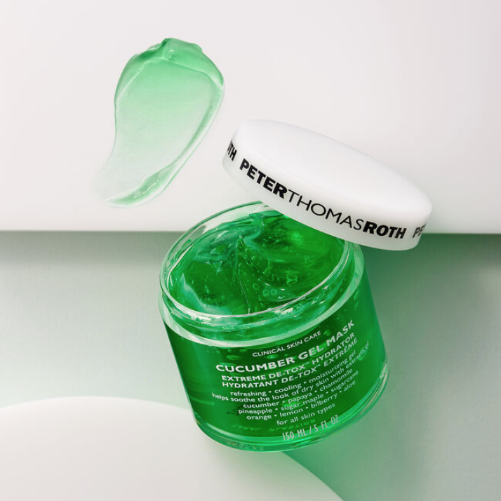 An advertisement for Peter Thomas Roth's Cucumber Gel Mask.