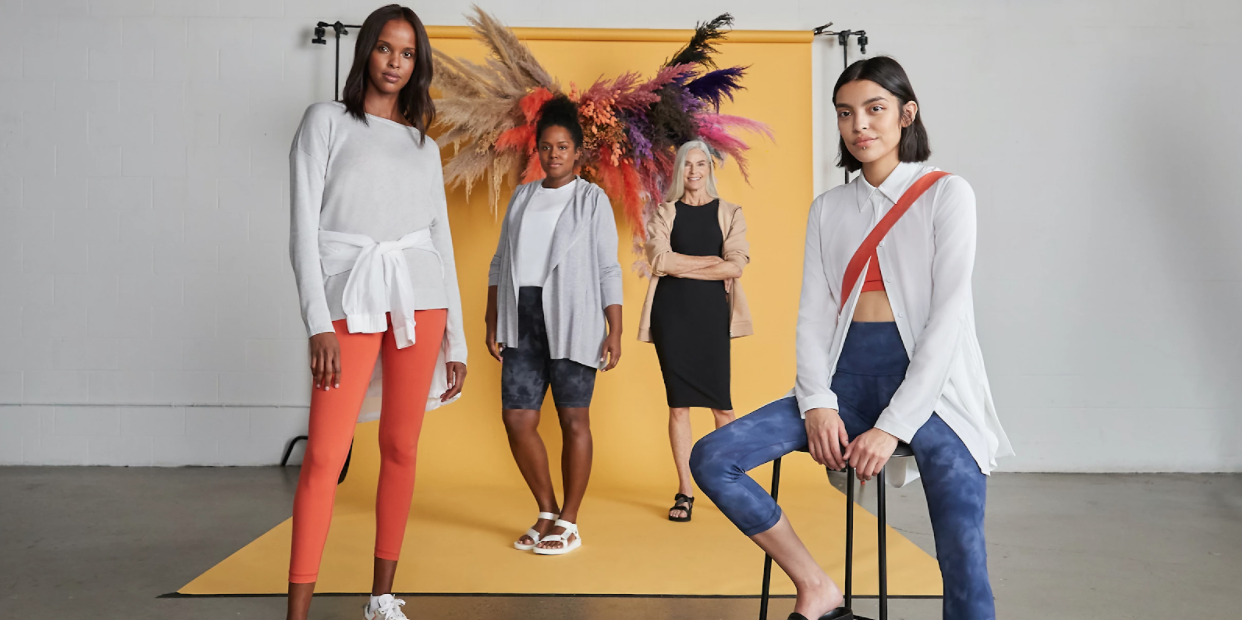 Four female models pose in an ad for Lululemon.