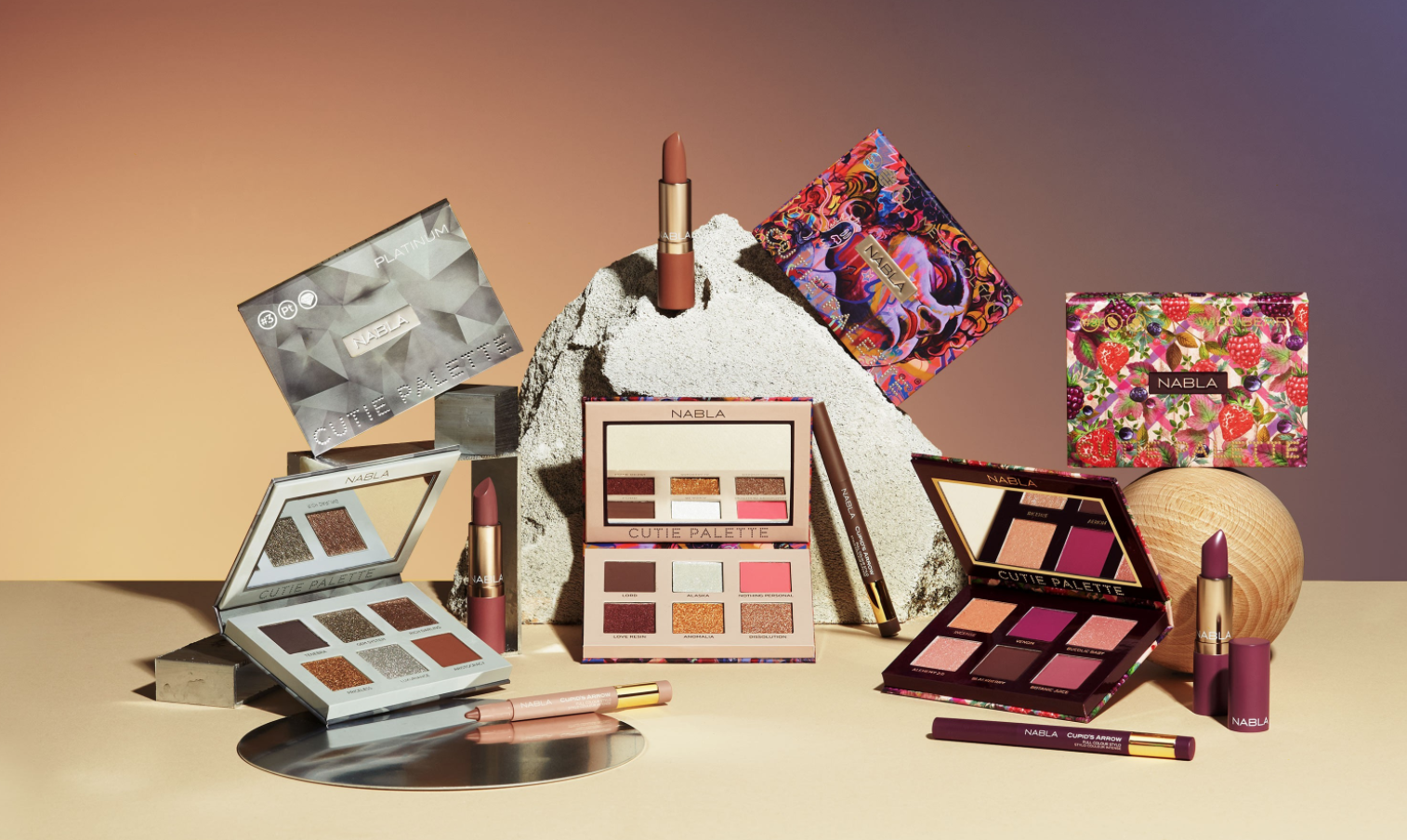 An advertisement for Nabla Cosmetics' Cutie Collection.