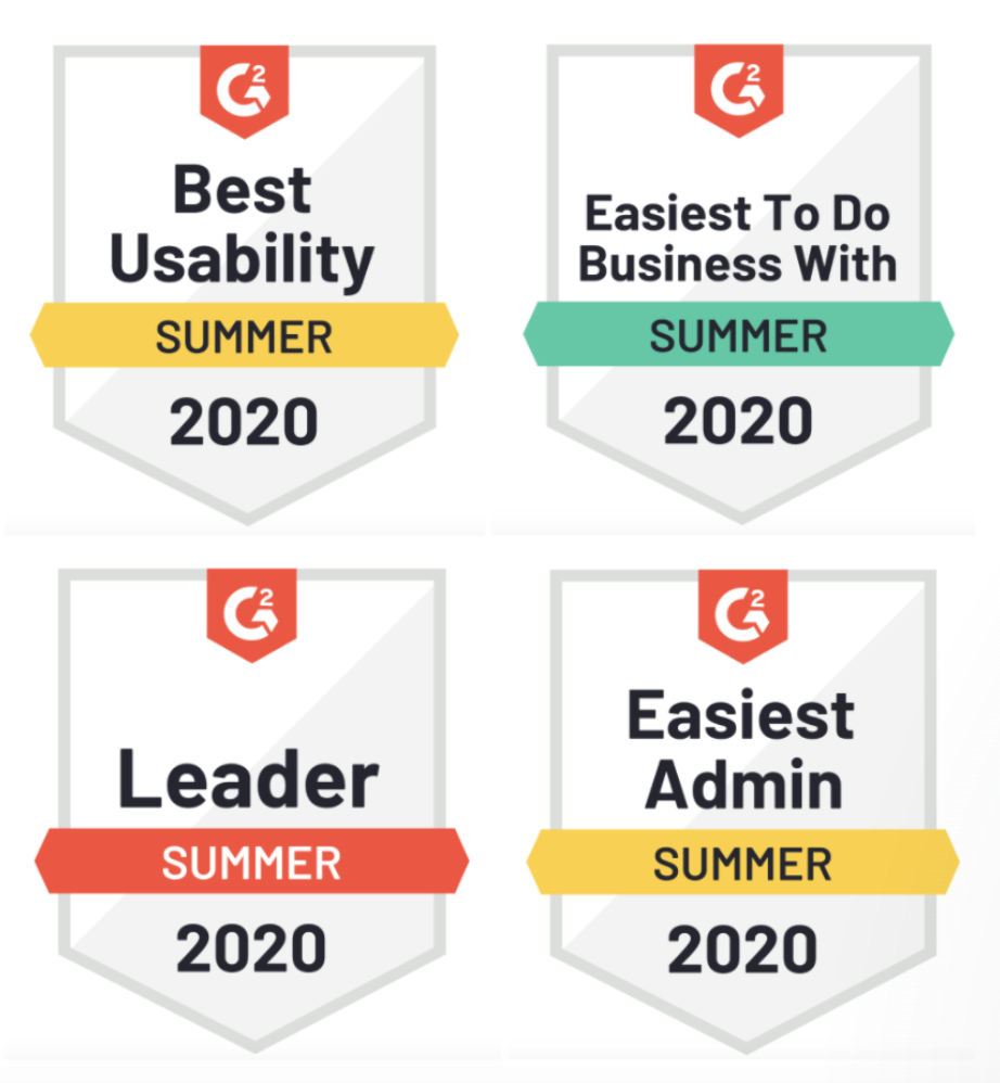 Tribe Dynamics' Summer 2020 awards for Best Usability, Easiest Admin, Easiest to Do Business With, and Leader, from SaaS review platform G2.
