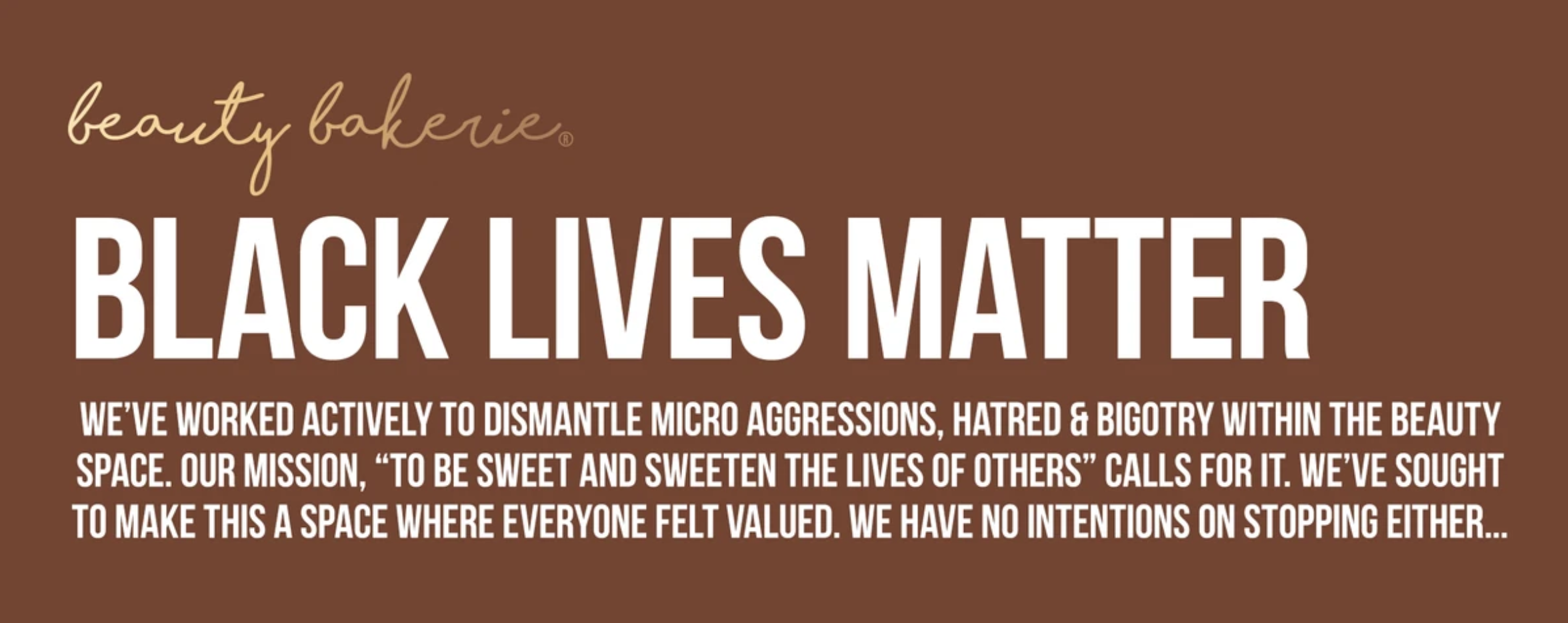 A statement from Beauty Bakerie about the Black Lives Matter movement.