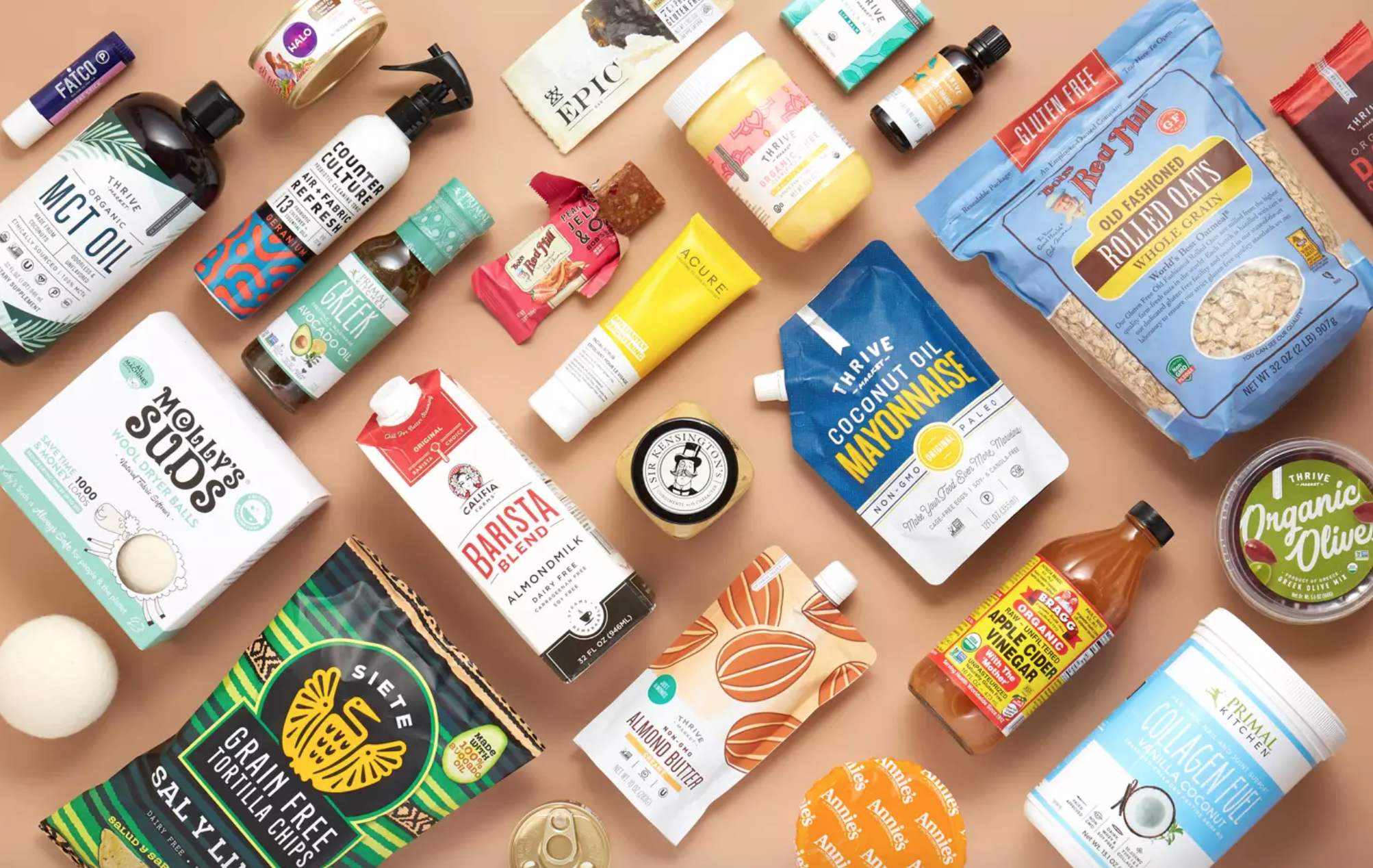 A flat-lay featuring numerous healthy products available from Thrive Market.