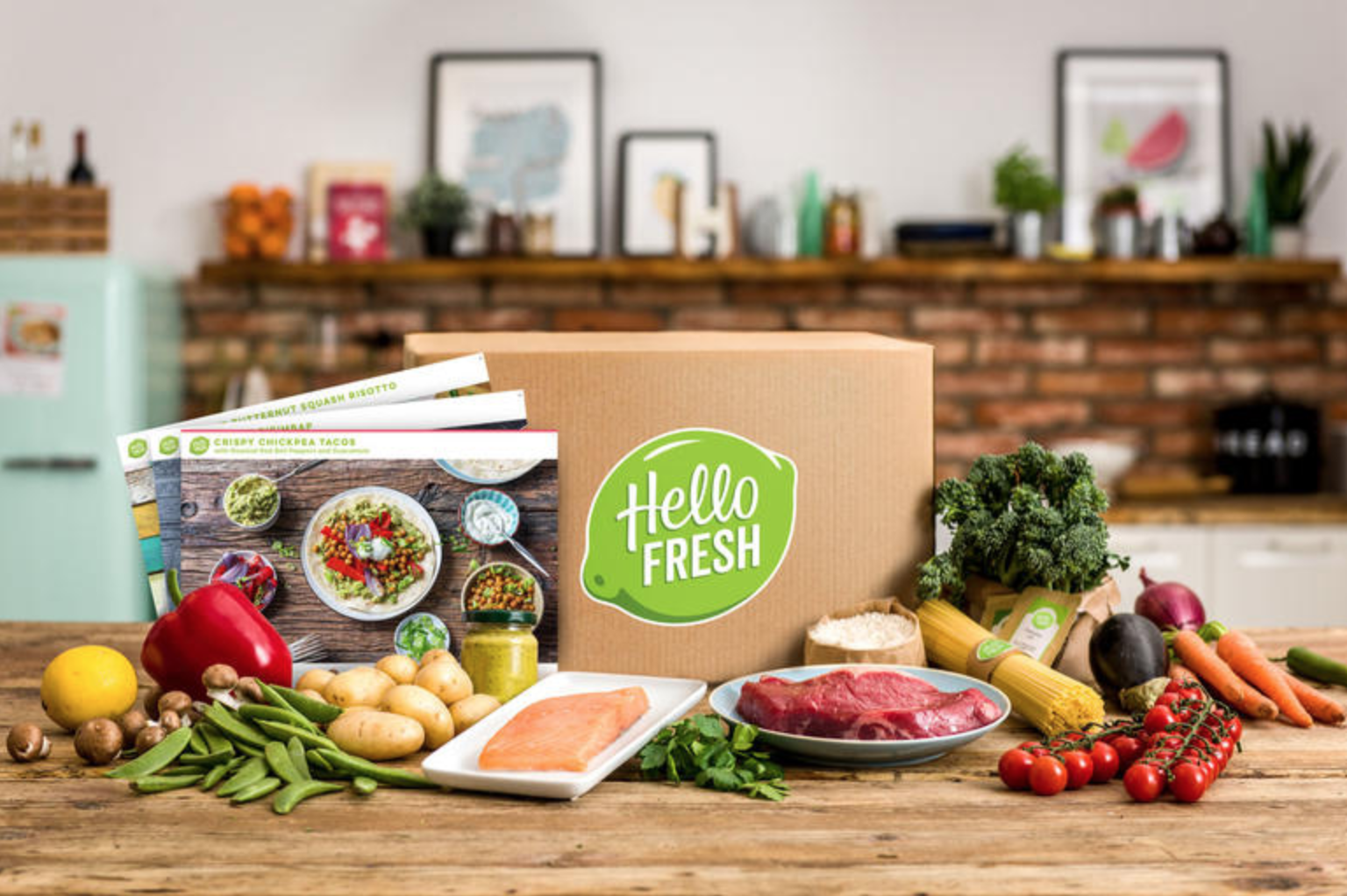 An advertisement for HelloFresh featuring an array of ingredients included in a meal-kit.