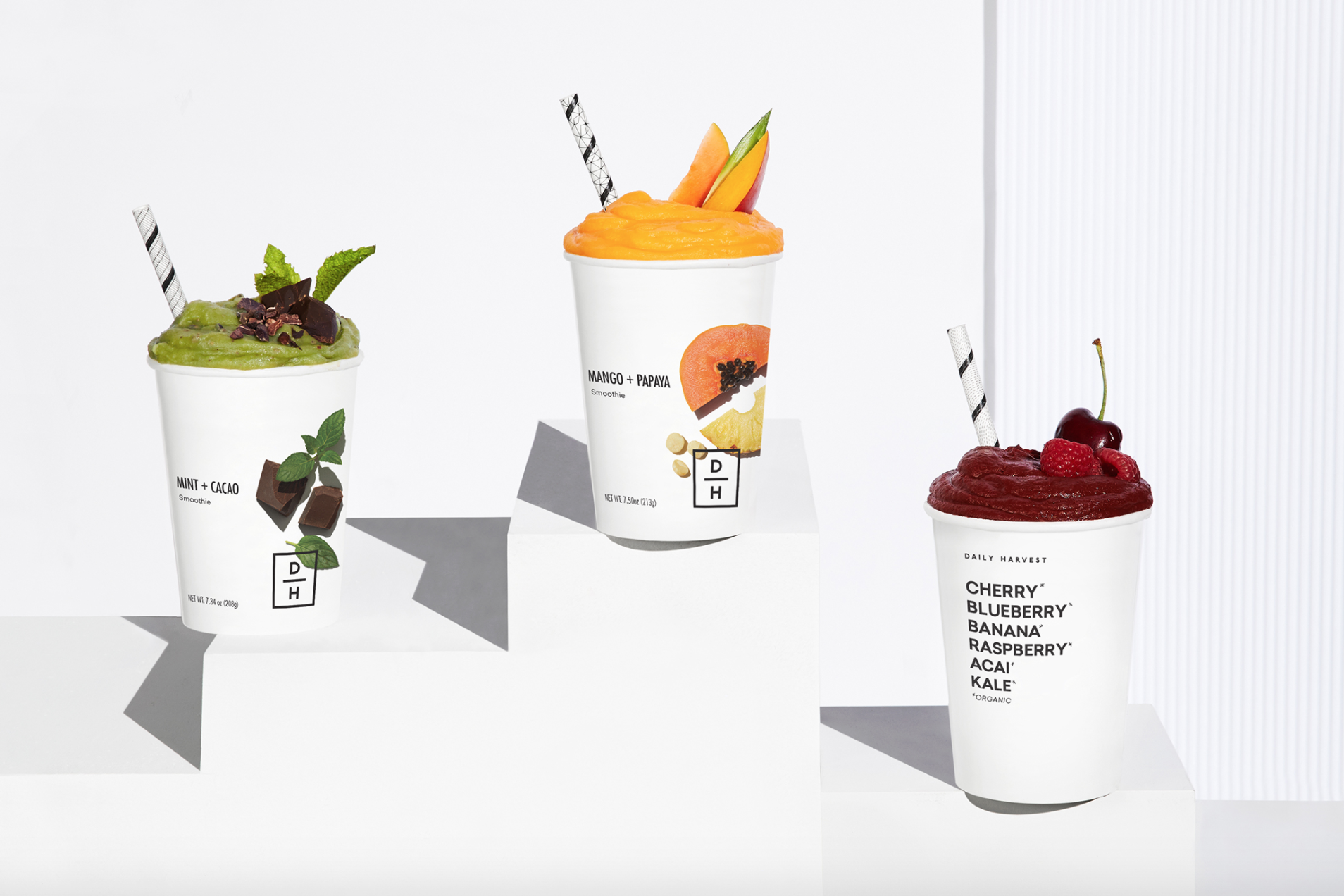 A trio of superfood smoothies from Daily Harvest.