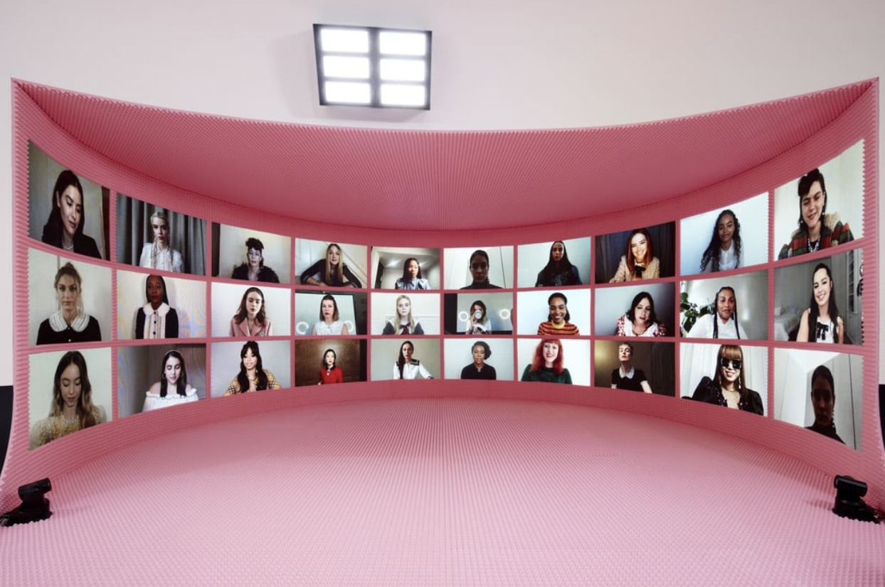 Fashion influencers and celebrities in the virtual front row at Miu Miu's Spring 2021 digital fashion show.