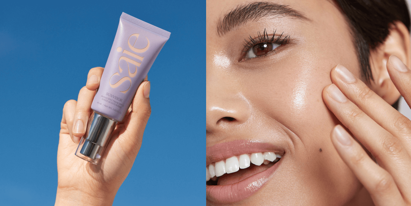 Side-by-side images of clean beauty brand Saie's Sunvisor tinted SPF moisturizer, and a model wearing the Sunvisor product.